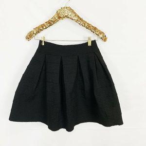 EXPRESS A Line  Black Textured Scalloped Hem Skirt